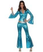 Combinaison disco bleue turquoise - deguisement disco femme