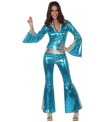 Déguisement disco femme bleue