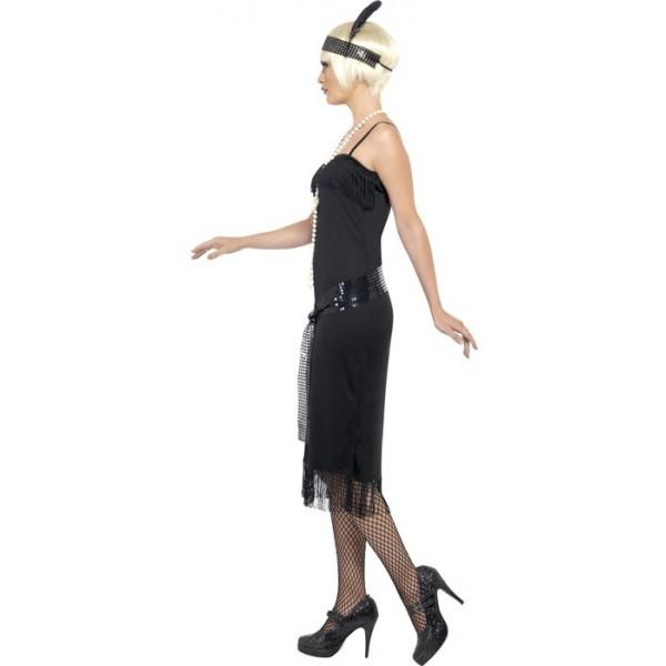 déguisement années 30 femme , costume charleston noir