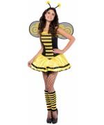 Déguisement d'abeille femme avec robe, serre-tête et paire d'ailes - 9103