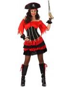 Deguisement pirate femme adulte rouge et noir - WA255S
