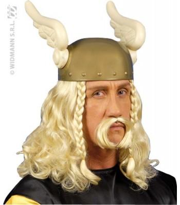 Perruque gaulois blond avec moustache