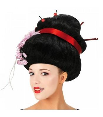Perruque geisha avec chignon