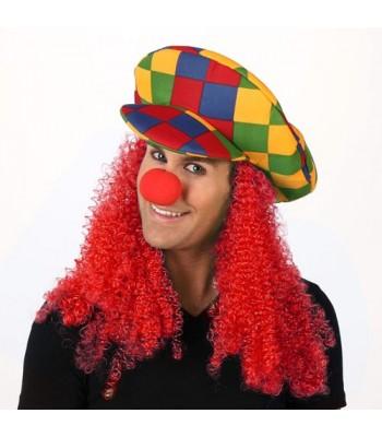 casquette clown avec cheveux