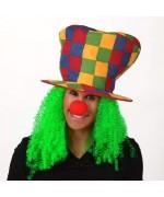 Chapeau de clown avec cheveux verts - accessoire carnaval