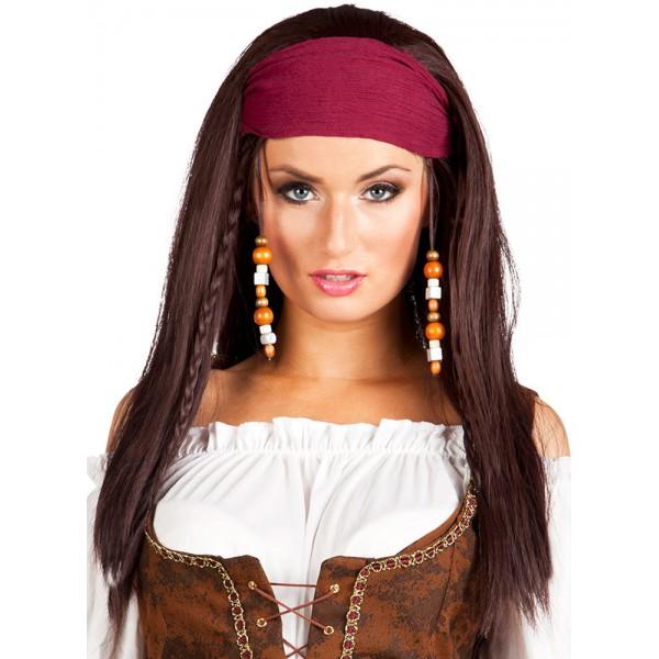 perruque pirate femme avec bandana la magie du d guisement accessoire deguisement pirate femme. Black Bedroom Furniture Sets. Home Design Ideas