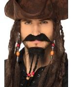 moustache de pirate avec bouc et tresse