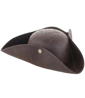 Chapeau de pirate tricorne marron