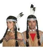 perruque indienne avec tresse et bandeau - BZ149A