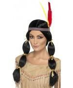 perruque deguisement indien avec tressse et bandeau