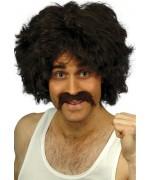 kit perruque et moustache brune rétro - déguisement 118 218