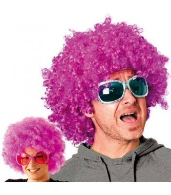 Perruque afro disco violette
