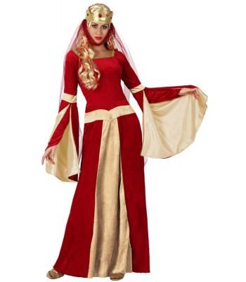 Déguisement reine médiévale rouge