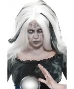 Perruque blanche et grise voyante halloween - déguisement sorcière