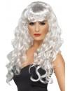 perruque blanche femme, effet ondulé - perruques sirène