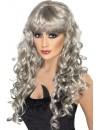 Longue perruque grise pour femme - deguisement halloween, sirène