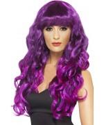 Longue perruque violette aux reflets noirs