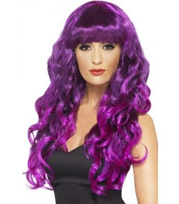 Longue perruque violette ondulée femme