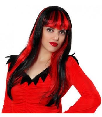 Perruque diablesse noire et rouge