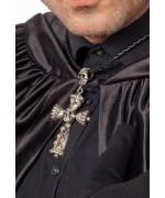 Collier croix gothique avec tête de mort