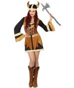 Déguisement viking pour femme avec robe et casque en mousse - costume carnaval