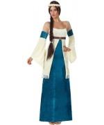 deguisement princesse médiévale bleue - costume femme moyen age