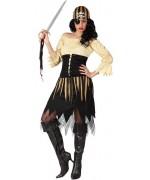 deguisement pirate femme noir et or, robe avec boléro et bandeau - deguisements adultes