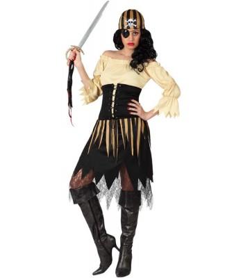 Déguisement pirate femme noir et or