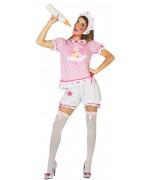 Déguisement bébé rose pour femme avec short, maillot et coiffe - EVJF & Carnaval