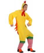 deguisement de poulet adulte, combinaison avec cagoule