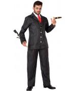 déguisement de gangster pour homme avec pantalon, veste, col blanc et cravate rouge