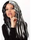 longue perruque noire avec mèches blanche - perruques halloween femme