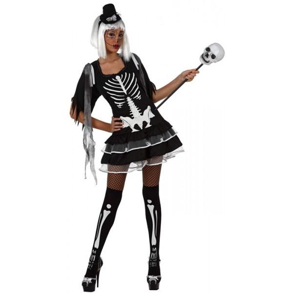 d guisement squelette femme la magie du deguisement achat deguisements halloween. Black Bedroom Furniture Sets. Home Design Ideas