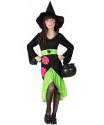 deguisement de sorcière moderne halloween, fluo et flashy de 3 à 12 ans