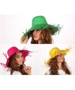 Chapeau feuille de palmier 3 couleurs, rose, jaune et vert