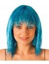 Perruque disco bleu turquoise femme