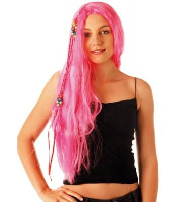 Perruque hippie rose femme