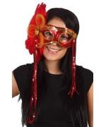 Masque à paillettes, loup rouge et or avec plumes - masques femme