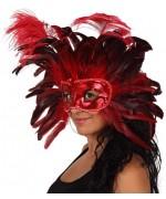 Masque rouge et noir à plumes pour femme - masques carnaval