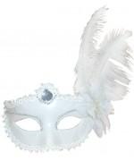 Loup blanc avec fleur et plumes - masque marquise