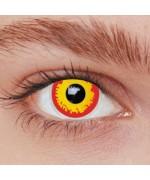 Lentilles fantaisie rouge et jaune idéale pour vos maquillages halloween, diables et vampires