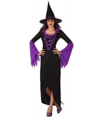 Déguisement sorcière noire et violette adulte
