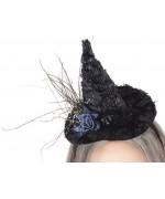 Mini chapeau de sorcière halloween avec fleur