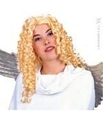 perruque ange, longs cheveux blonds bouclés pour femme