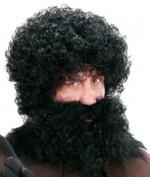 grosse perruque noire frisée pour adulte - deguisements bavarois, cro-magnon ou père fouettard