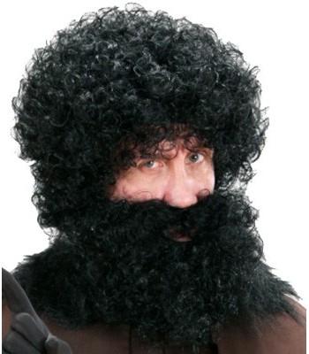 Perruque noire avec barbe frisée adulte