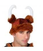 Casque de viking avec cornes, chapeau en tissu pour adulte