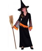 deguisement sorciere halloween fille, sorcière noire et orange - WE040SO