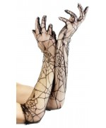 gants toiles d'araignées, longueur 52 cm - accessoire halloween