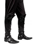 surbottes noires avec 4 boucles metal pour adultes - accessoire costume pirates